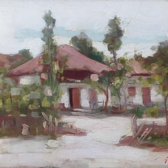NICOLAE GRIGORESCU-Peisaj cu case