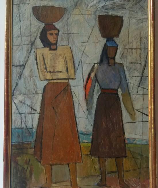 Alexandru Ţipoia, DOUĂ ŢĂRĂNCI CU VASE PE CAP, 1960, ulei pe pânză, 120x78 cm
